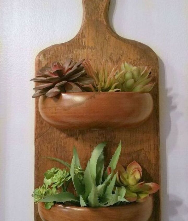 s transform old cutting boards into these 13 nifty items, Or add wooden bowls to them for planters