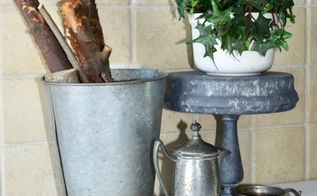 turning thrift store finds into a galvanized metal stand