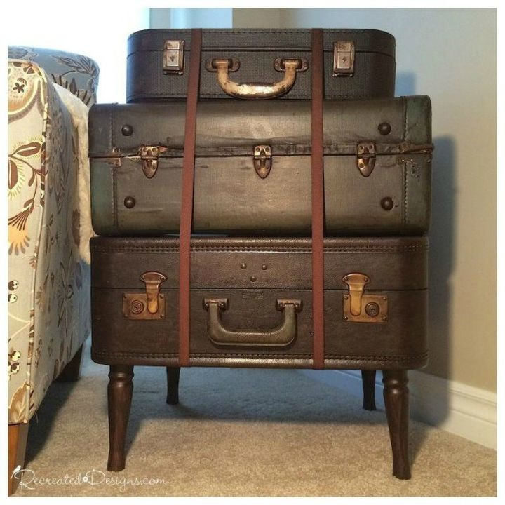 s don t throw out your old suitcase before you see these 15 clever ideas, Stack them into a side table
