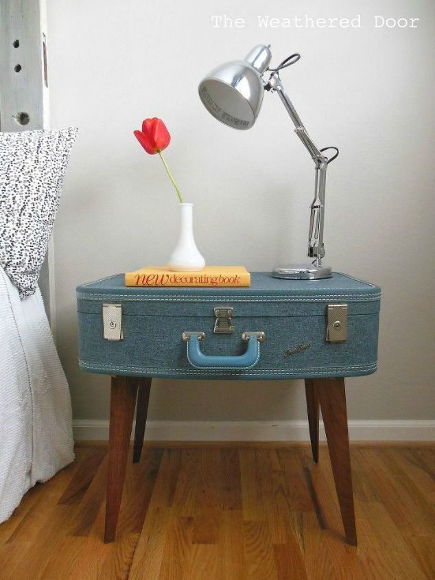 s don t throw out your old suitcase before you see these 15 clever ideas, Or attach some wooden legs into a night stand
