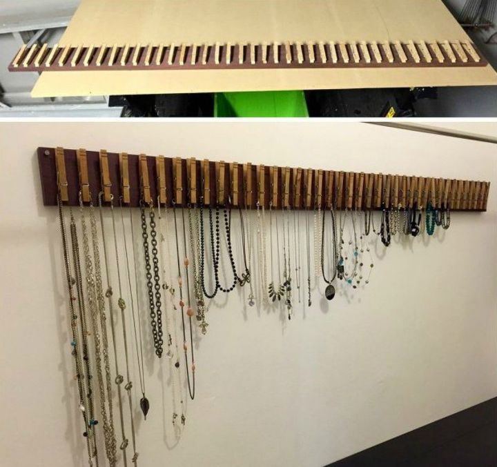 s gather your clothespins for these x brilliant ideas, Attach some to pine to make a jewelry holder