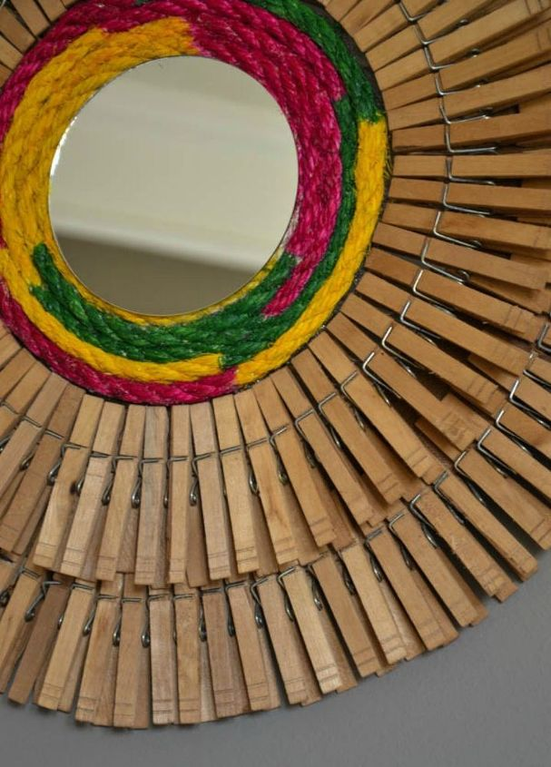 s gather your clothespins for these x brilliant ideas, Craft some into a round hall mirror