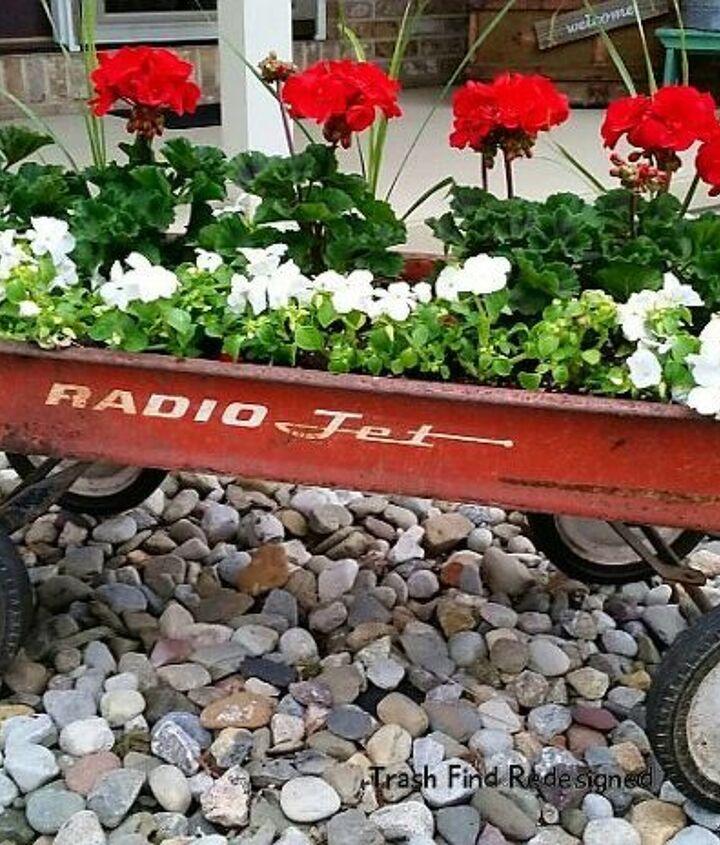 Geraniums & Impatience Vintage Wagon