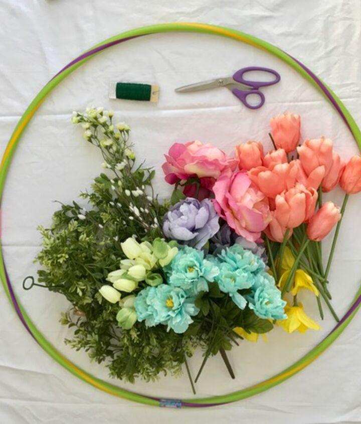 hula hoop spring wreath