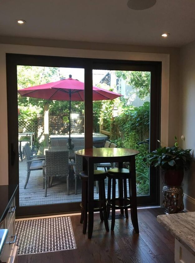 e new patio door and furniture before and after