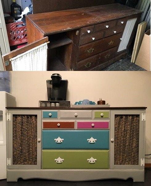 Original Dresser Repurposed as a Coffee Bar