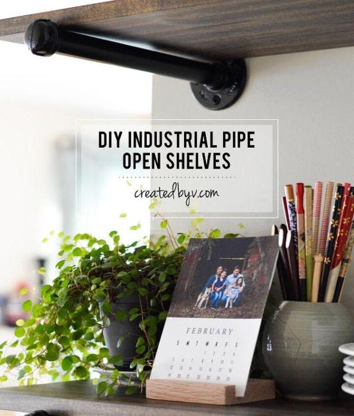 diy industrial pipe open shelving