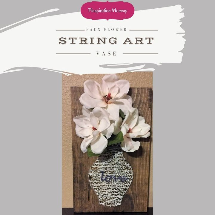 string art vase with faux flowers
