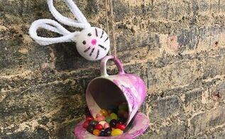 teacup easter bunny feeder