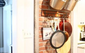 faux chimney brick wall mounted pot rack