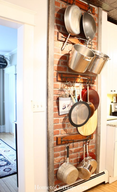 faux chimney brick wall mounted pot rack