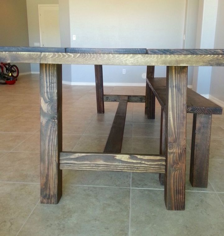 Peachy How To Build A Farmhouse Table And Bench Diy Hometalk Dailytribune Chair Design For Home Dailytribuneorg
