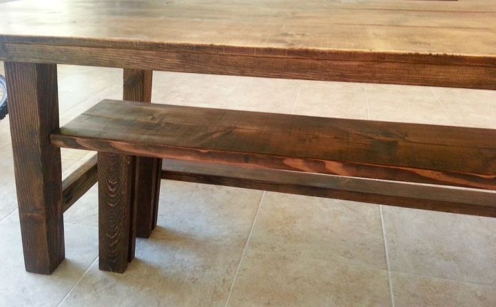 Marvelous How To Build A Farmhouse Table And Bench Diy Hometalk Dailytribune Chair Design For Home Dailytribuneorg