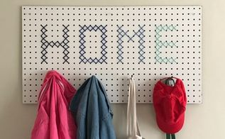 pegboard cross stitch coat hanger