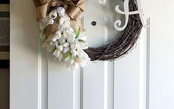 Monogrammed Tulip Wreath With Burlap Bow