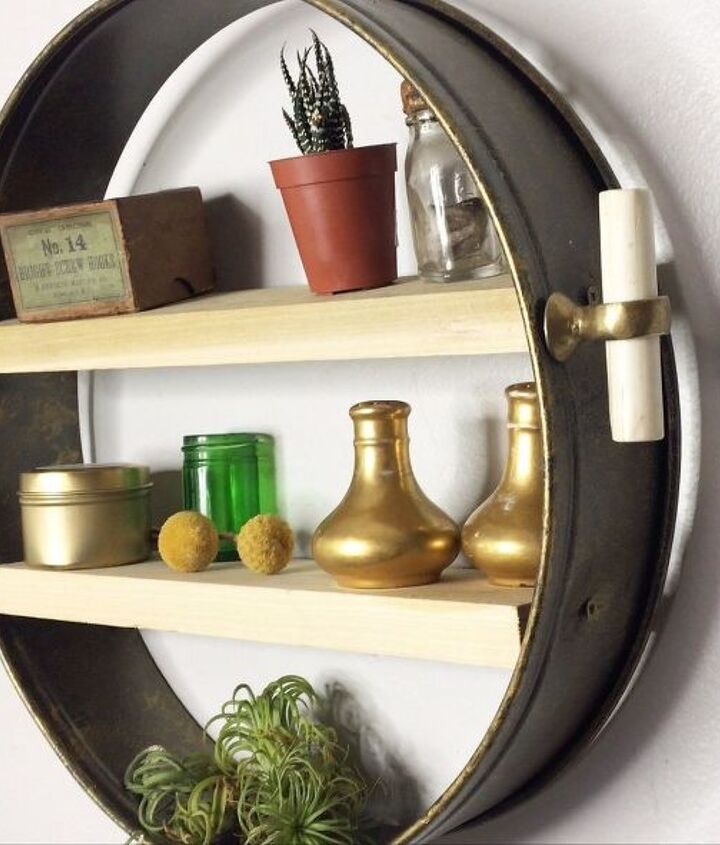 anthropolgie knockoff repurposed cake pan shelf