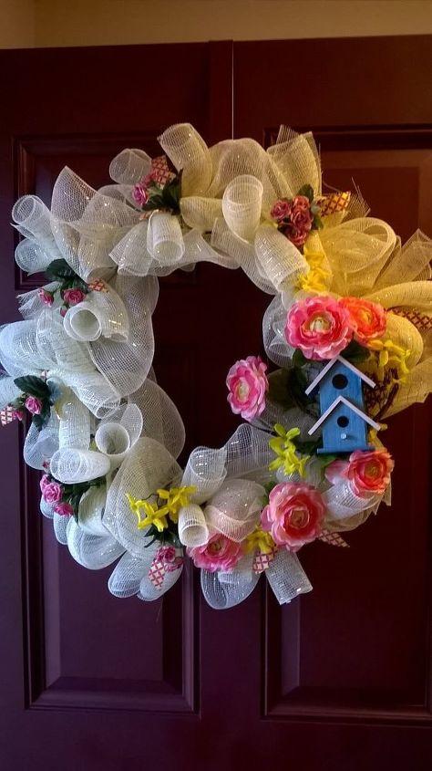 e deco mesh spring wreath, Spring Wreath