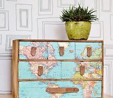 map and leather upcycle of ikea mini drawers moppe