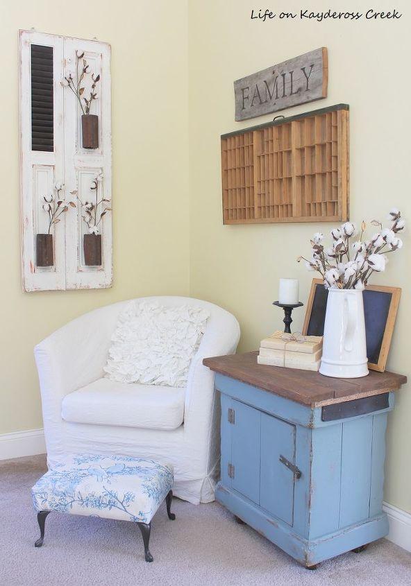 farmhouse wall decor using an old shutter