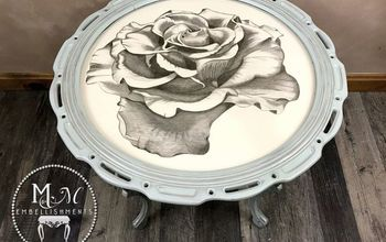 Hand Stained Rose Accent Table