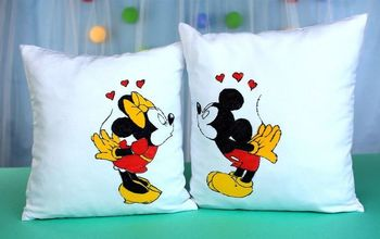 diy minnie and mickey decorative pillow covers