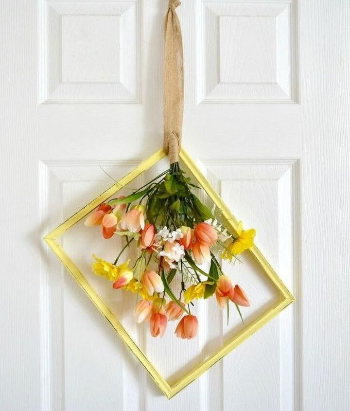 turn a thrift store frame into a beautiful spring wreath