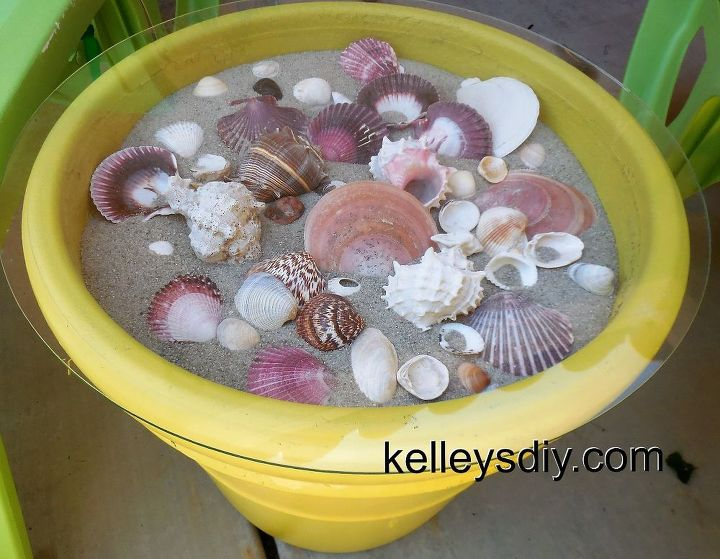 seashell outdoor table, outdoor furniture, outdoor living