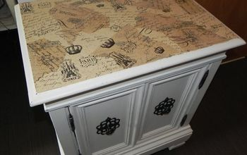 using paint and mod podge to transform an ugly cabinet