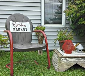 Garden Sign Painted On Old Metal Chair