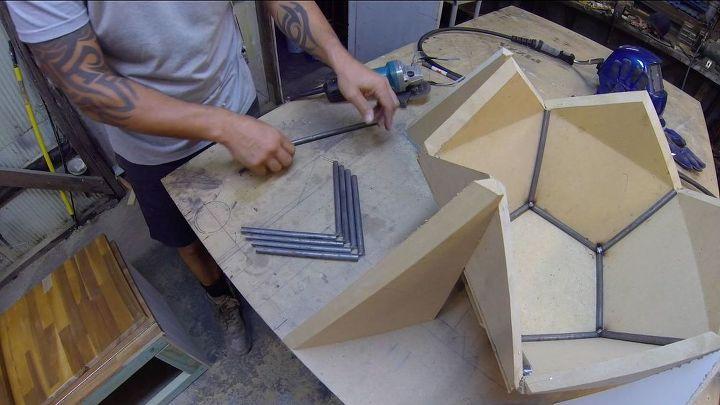 steel industrial pentagon table
