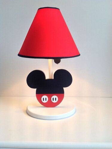 How can i make a mickey mouse lamp hometalk you could paint any lampshade and make the mouse face out of wood aloadofball Gallery