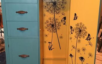 a custom painted wardrobe and dresser