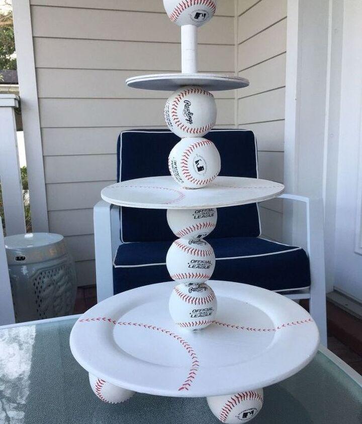 diy tiered baseball snack or cupcake display stand