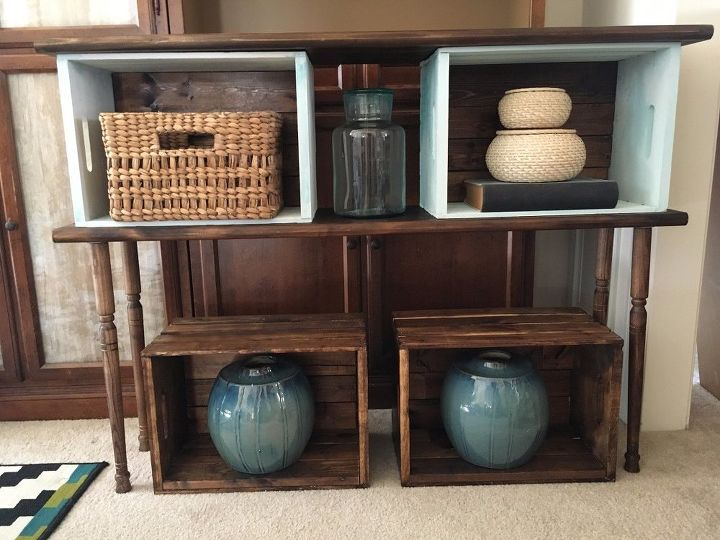 DIY Crate Console Table
