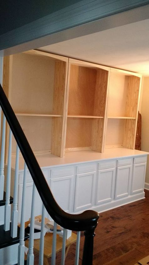 Built In Bookcase Hack Using Kitchen Cabinets And