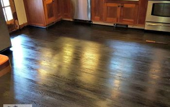Refinishing an Old Wood Floor :: Staining a Kitchen Wood Floor Black
