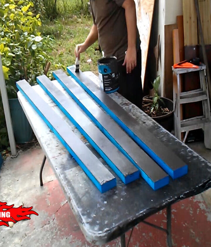 Painting the frame with enamel paint