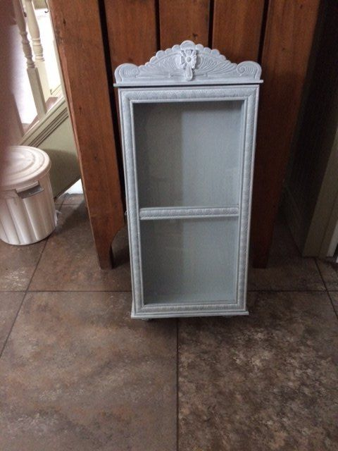 fusion white wash and wax old clock medicine cabinet