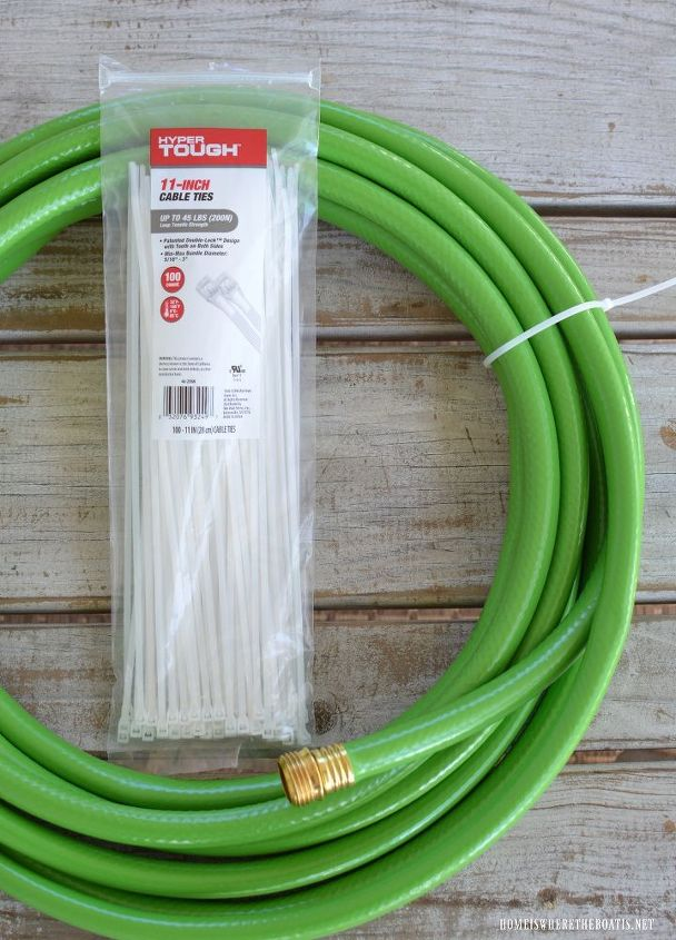 grow a garden hose wreath with blooming wellies