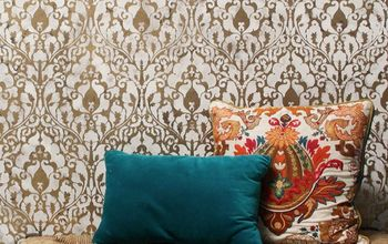 how to stencil a gold leaf damask wall finish