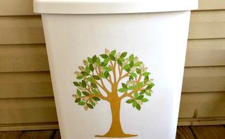 easy tree art recycle bin or trash can tutorial