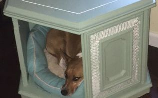heirloom traditions paint challenge dog bed end table cabinet, Finished dog bed project