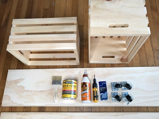 Easy Crate Diy Bench On Wheels Hometalk
