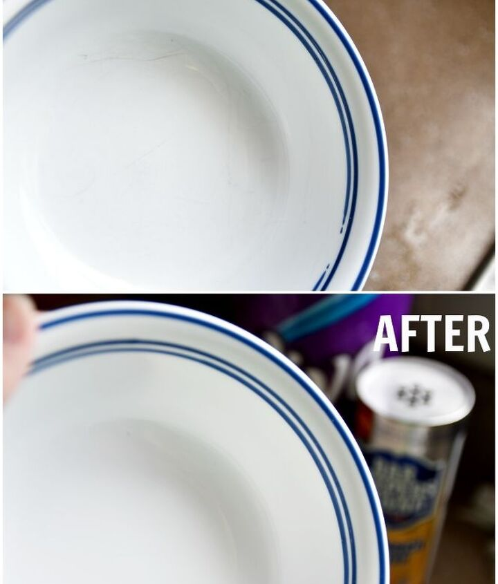 an amazing way to remove scuff marks from dinnerware