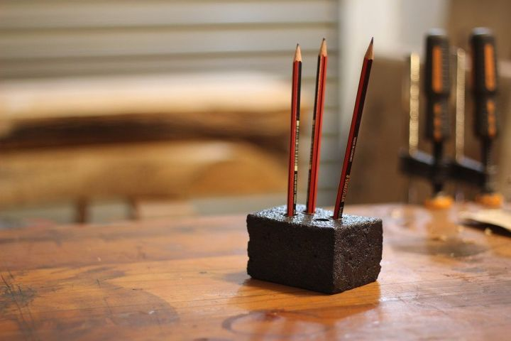 mortar and copper pencil holder