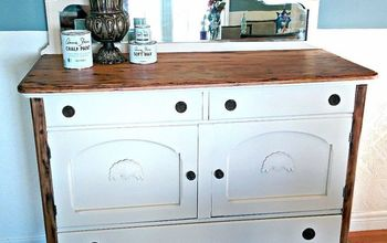 antique farmhouse hutch make over with chalk paint