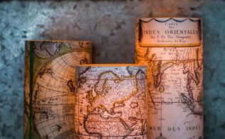 antique world map decoupaged candles