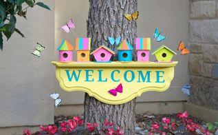 birdhouse garden welcome sign