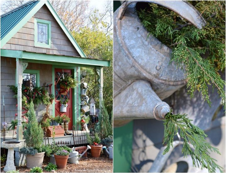 hang a collection of watering cans to decorate a garden shed