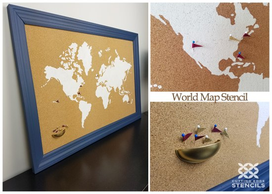 How To Stencil A Cork Board Using the World Map Pattern | Hometalk